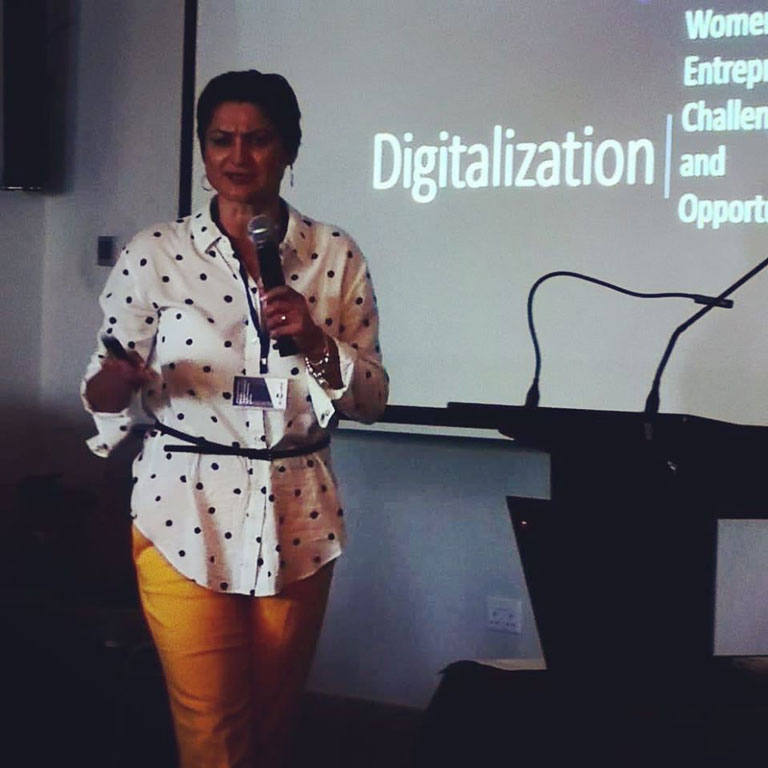 Elena Jnr. Andreou presenting how to grow your business in the digital world